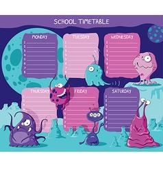 School timetable aliens vector