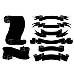 scrolls black outline icons vector image