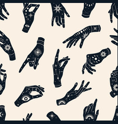 Seamless pattern hands with signs magic vector