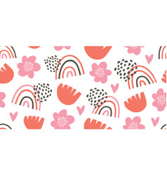 seamless pattern with rainbows hearts flowers vector image