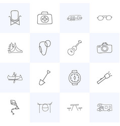 set of 16 editable travel doodles includes vector image