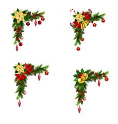 Set of cristmas corner decorations vector