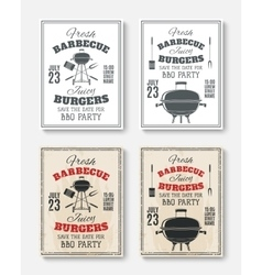 Set of four vintage barbecue party posters vector