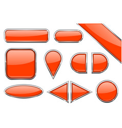 Set of orange glass buttons with metal frame vector