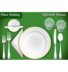 Set of Place Setting Informal Dinner vector image