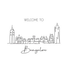 single continuous line drawing bangalore city vector image