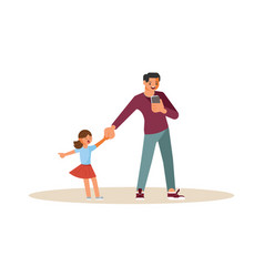 smartphone addicted parentr with device vector image