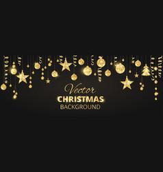 Sparkling christmas glitter ornaments on black vector