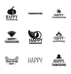 thanksgiving label logo set simple style vector image