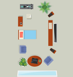 top view living room interior element vector image