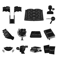 translator and linguist black icons in set vector image