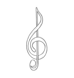 Treble clef or g clef hand drawn sketch vector