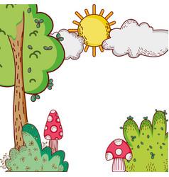 Tree bushes sun clouds nature cartoon vector