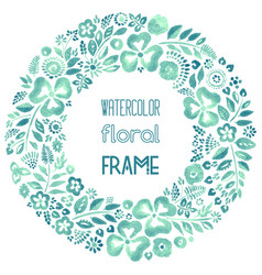 Watercolor floral frame in teal tones vector