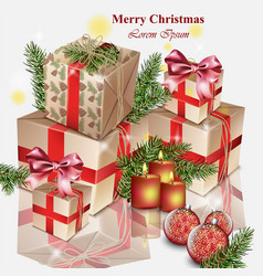 christmas gifts realistic merry christmas vector image vector image