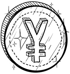 doodle currency coin yen vector image