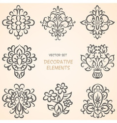 Floral decorative elements collection vector image