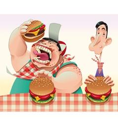 Guys with hamburgers vector image