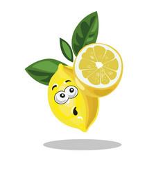 lemon cute character surprised with half cut lemon vector image