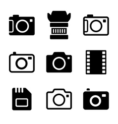 Photo Camera and Accessories Icons Set vector image vector image
