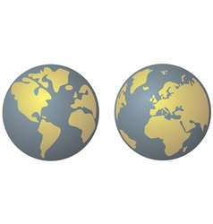 Planet Earth in yellow and denim blue vector image vector image