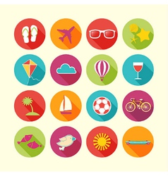 Set of Summer objects vector image vector image