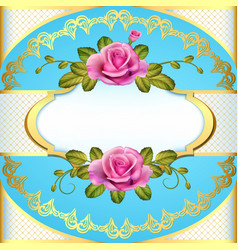 vintage frame background with roses and golden vector image vector image
