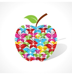 Colorful butterfly make a apple vector image vector image