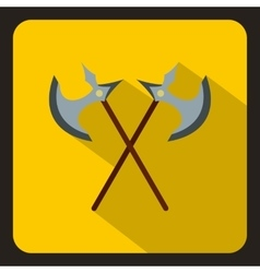 Crossed ancient battle axes icon flat style vector image