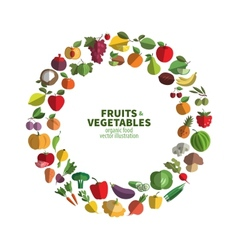 food fruit and vegetables icon set vector image vector image