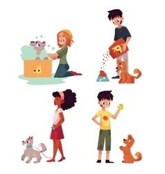 Happy kids feeding washing walking a dog vector image vector image