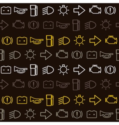 Seamless background with car dashboard icons vector image