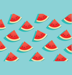 watermelon slice on blue background summer time vector image vector image
