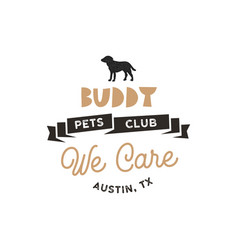 buddy pet club logo template pet silhouette vector image vector image