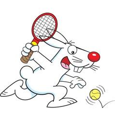 Cartoon rabbit playing tennis vector image