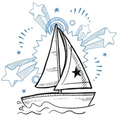 doodle pop sailboat vector image vector image