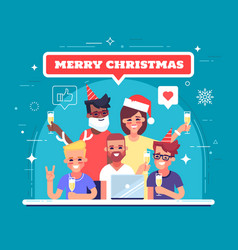 happy workers are celebrating christmas vector image vector image