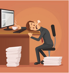 hard work tired unhappy office worker man vector image
