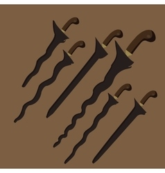 keris kris traditional weapon knife swords from vector image vector image