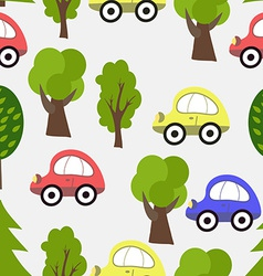 Seamless Pattern with Car and Tree Background vector image