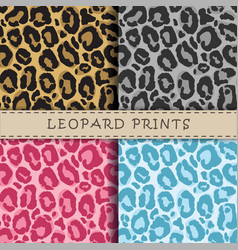 Seamless patterns set with leopard skin texture vector image