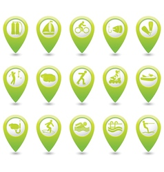 Set of 15 sport GREEN map pointer vector image