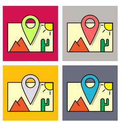 Set of travel pin location on a global map flat vector