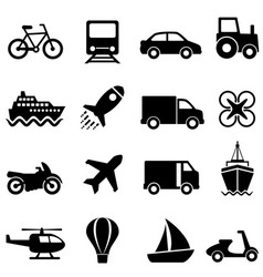 air water and land transportation icon set vector image