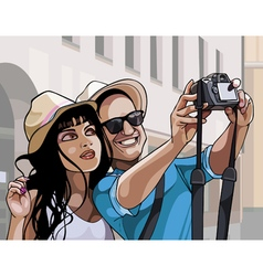 cartoon couple tourists man and woman photographed vector image vector image