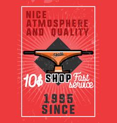 Color vintage skate shop banner vector