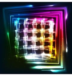 Rainbow colors shining neon lights grid vector image vector image