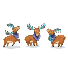 Set of cute cartoon hand drawn elks vector image vector image
