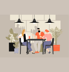 a group friends spends time in a cafe vector image
