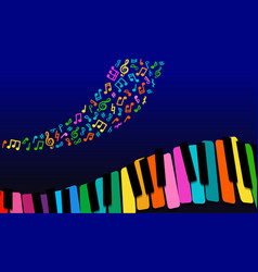 abstract music background rainbow paper piano vector image